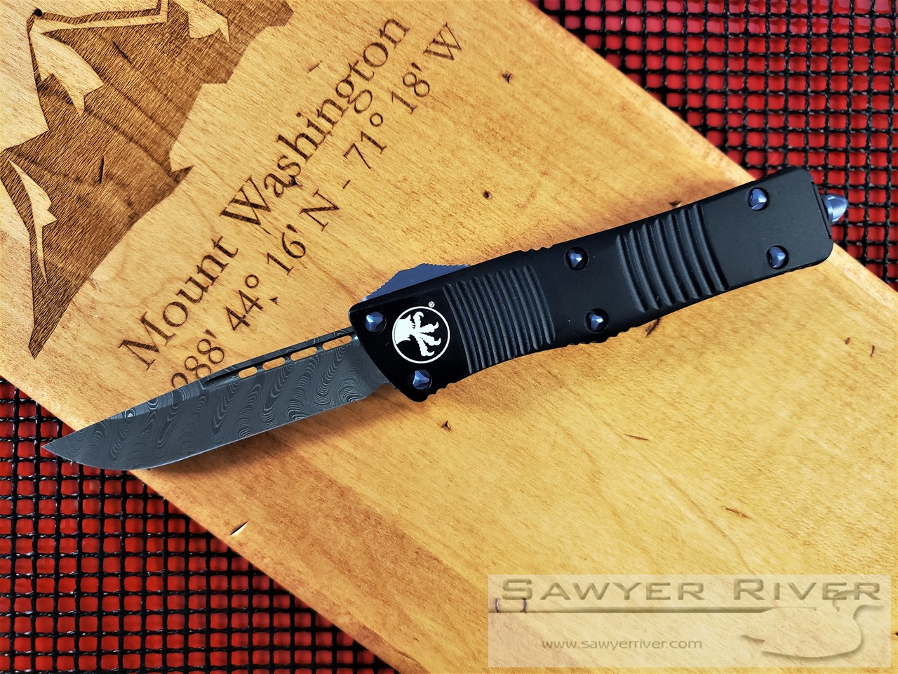 MICROTECH SIGNATURE SERIES TROODON S/E DAMASCUS BLADE AND TITANIUM HARDWARE