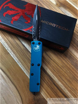 Microtech UTX-85 D/E - Black Partially Serrated Blade - Turquoise Handle