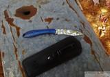 Moen Works Mini Mongoose - Mirror Polish Fixed Blade - Blue Honeycomb Aluminum Handle - Black Leather Sheath