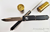 Microtech - Ultratech S/E - Bronze Apocalyptic M390 Blade - Black Handle - Bronzed Hardware
