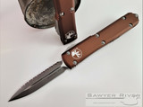 Microtech - Ultratech D/E - Serrated Stonewash Apocalyptic M390 Blade - Tan Handle