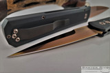 Pro-Tech Godfather - Rose Gold Coated 154-CM Blade - Black Aluminum Handle - Rose Gold Coated Hardware