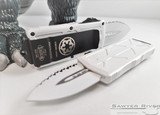 Microtech Exocet D/E Stormtrooper Signature Series - White Serrated Blade - White Aluminum Handle
