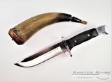 Buck Frontiersman 2021 Limited Edition - Satin 420HC Bowie Blade - Crelicam Genuine Ebony Wood & Aluminum Handle - Black Leather Sheath