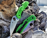 Spyderco Salt 2 - Satin Wharncliffe LC200N Blade - Green FRN Handle