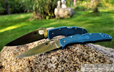 Spyderco Endura - Satin K390 Drop Point Blade - Dark Blue FRN Handle