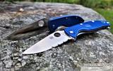 Spyderco Tenacious - Satin CPM-S35VN Partially Serrated Blade - Dark Blue FRN Handle