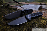Pro-Tech Les George SBR Auto - Acid Washed CPM-S35VN Blade - Black Aluminum Handle With Machined Textured/Knurled Inserts