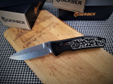 GERBER EMPOWER AUTO IN BLACK AND TWO TONE INLAYS AND STONEWASHED BLADE