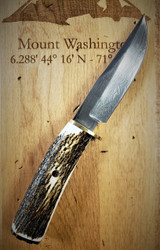 """MUELA BRACO 4.375"""" DAMASCUS FIXED BLADE WITH STAG HORN HANDLE"""