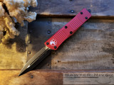 MICROTECH TROODON RED HANDLE BLACK BLADE
