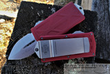 MICROTECH EXOCET RED HANDLE STONEWASH BLADE