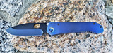 MEDFORD 187 DP FACED BLUE ANODIZED HANDLES PVD BLADE AND CLIP FLAMED Ti HARDWARE
