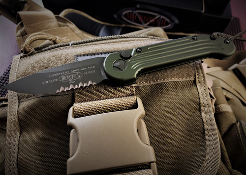 MICROTECH  L.U.N.T GREEN PARTIAL SERRATED W/ GREEN BLADE
