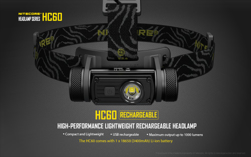 NITECORE 1000 LUMEN RECHARGEABLE HC60 HEADLAMP