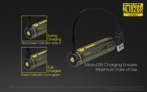 NITECORE MICRO-USB RECHARGEABLE Li-iON 18650/2600mAh BATTERY