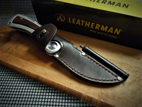 "LEATHERMAN STEENS HUNTING KNIFE W/4"" BLADE, BONE SAW AND GUT HOOK"