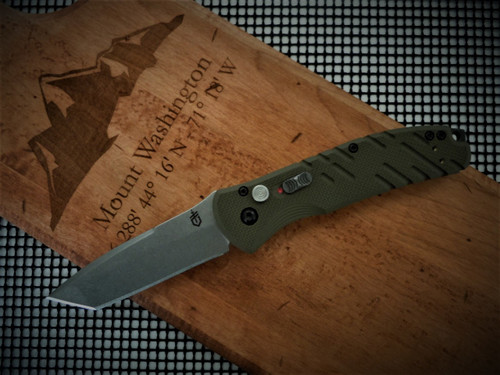 GERBER PROPEL DOWNRANGE AUTO TANTO STONEWASH OD GREEN HANDLE