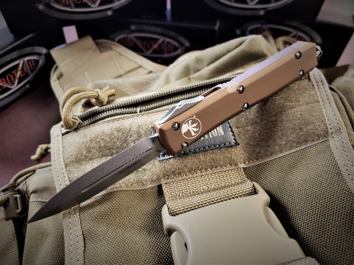 MICROTECH ULTRATECH D/E STONEWASHED BLADE WITH TAN HANDLE