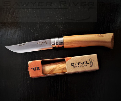 OPINEL N°08 OLIVE WOOD HANDLE AND STAINLESS BLADE