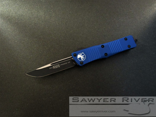 MICROTECH TROODON WITH BLUE HANDLE AND BLACK BLADE