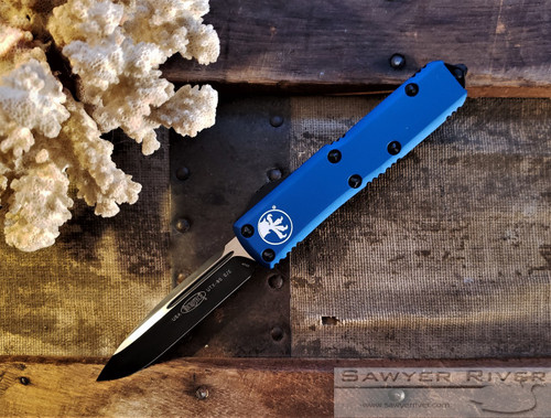MICROTECH UTX-85 BLACK S/E BLUE HANDLE