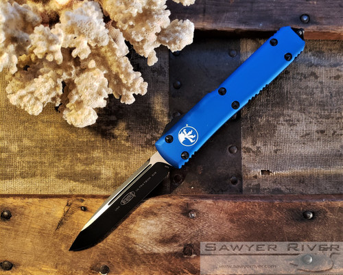 MICROTECH ULTRATECH BLACK S/E BLUE HANDLE