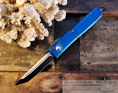 MICROTECH ULTRATECH SATIN TANTO BLADE BLUE HANDLE