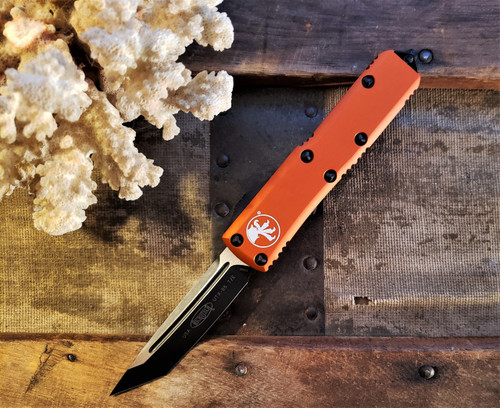 MICROTECH UTX-85 BLACK TANTO ORANGE HANDLE