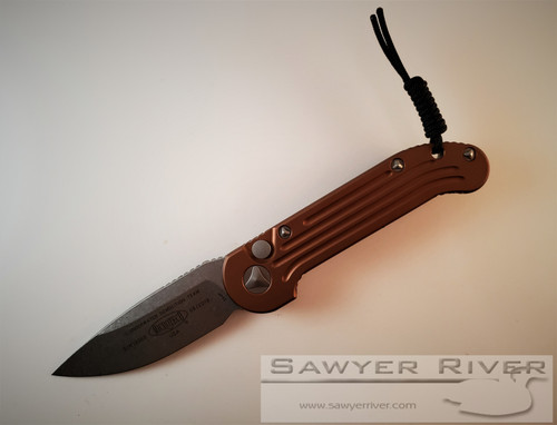 MICROTECH L.U.D.T. STONEWASH BLADE AND TAN HANDLE