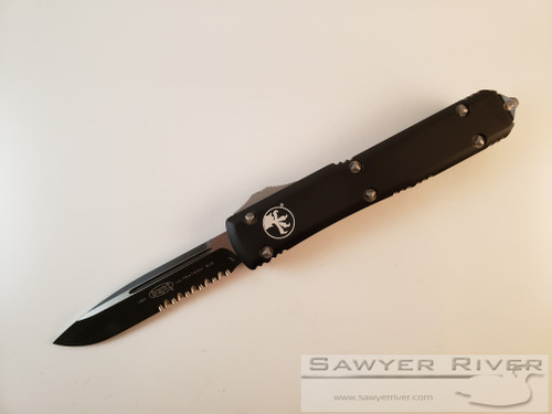 MICROTECH ULTRATECH BLACK BLADE S/E WITH PARTIAL SERRATIONS