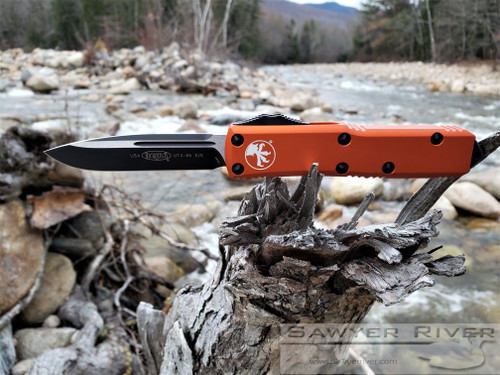 MICROTECH UTX-85 S/E BLACK BLADE AND ORANGE HANDLE