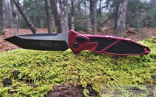 MICROTECH SOCOM ELITE AUTO BLACK T/E BLADE RED HANDLE