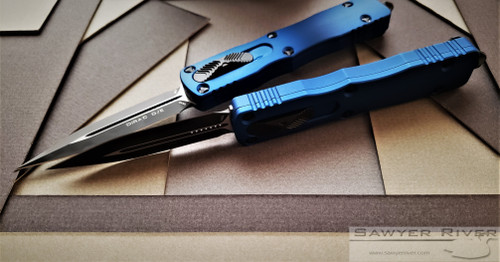 MICROTECH DIRAC WITH BLUE HANDLE AND BLACK BLADE