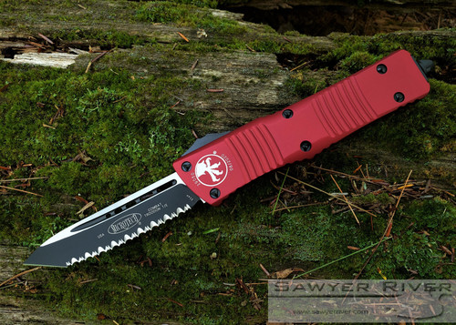 MICROTECH COMBAT TROODON RED WITH T/E F/S BLACK BLADE