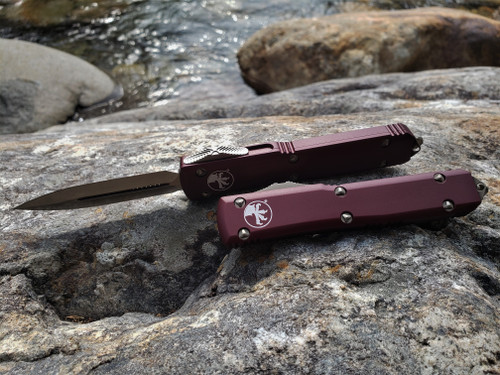 MICROTECH ULTRATECH D/E BRONZE BLADE WITH MERLOT RED HANDLE AND BRONZE HARDWARE