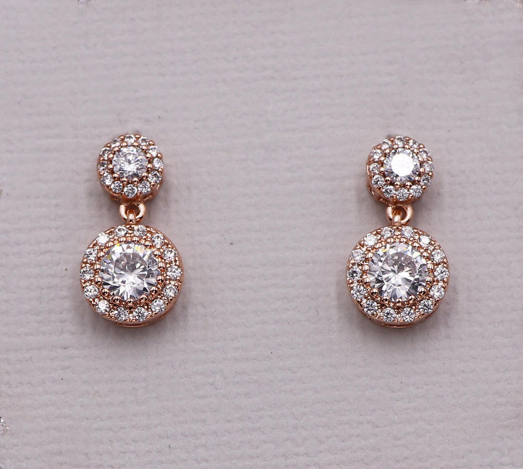 Aubrie Round Halo Dangle Earrings