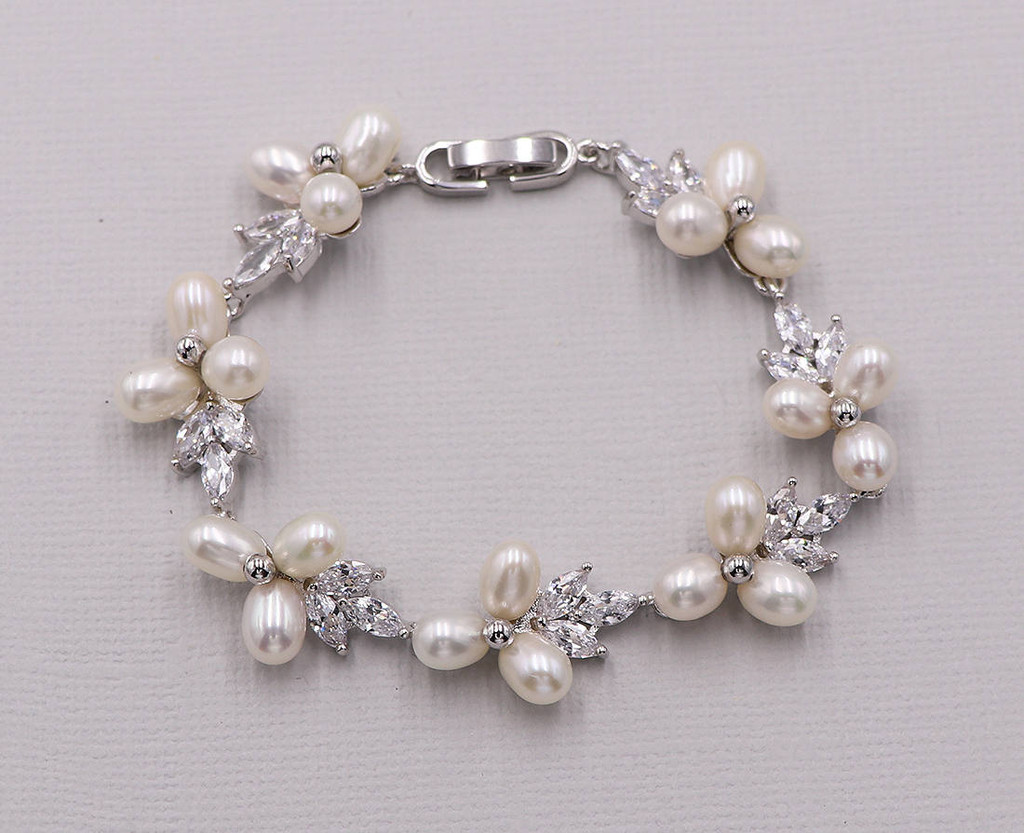 Abby Pearl and Cubic Zirconia Wedding Bracelet