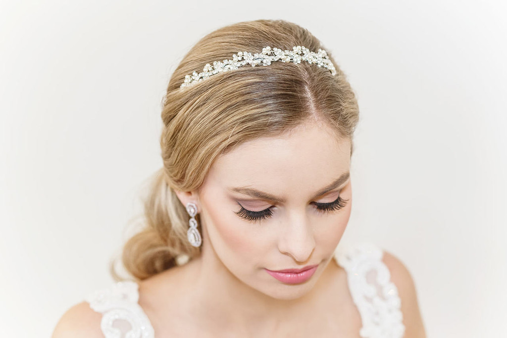 Sophia Crystal and Swarovski Pearl Wedding Headband