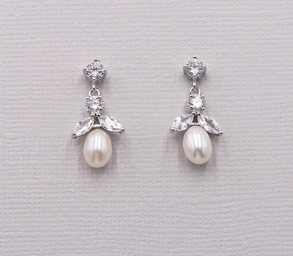 Abby Freshwater Pearl and CZ Earrings