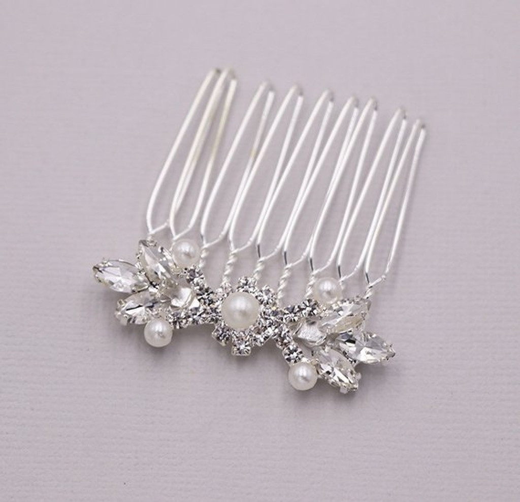Amanda Crystal and Pearl Wedding Comb