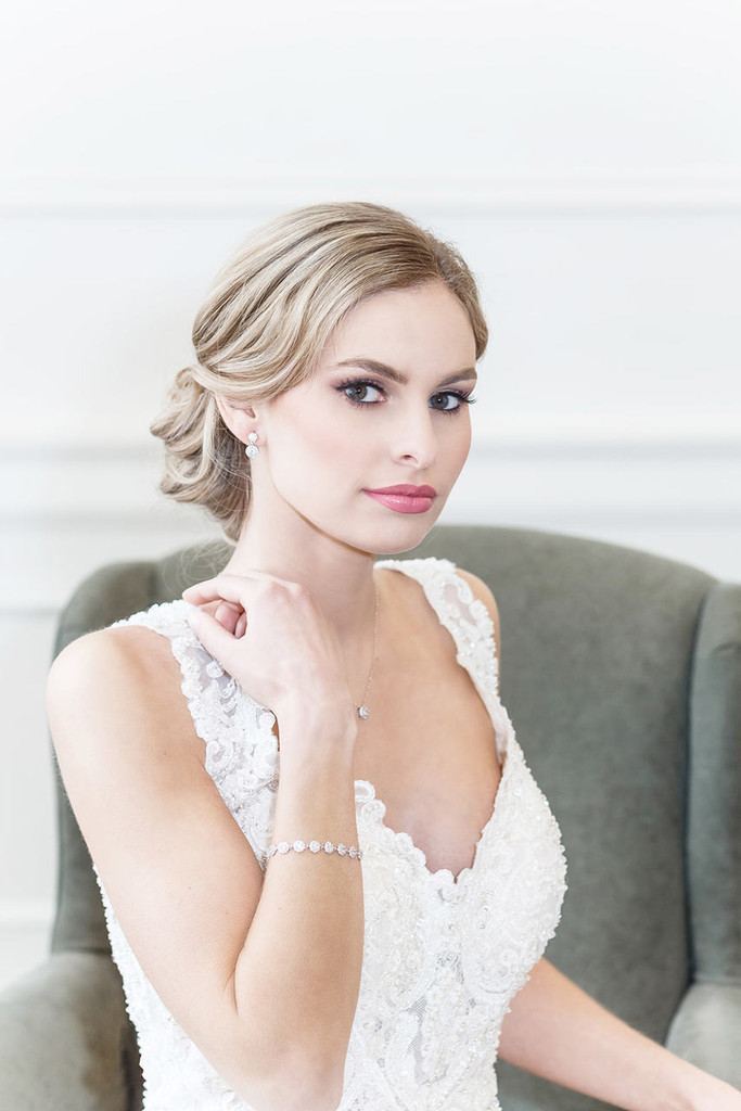 Aubrie Halo Cubic Zirconia Earrings and Bracelet Wedding Set