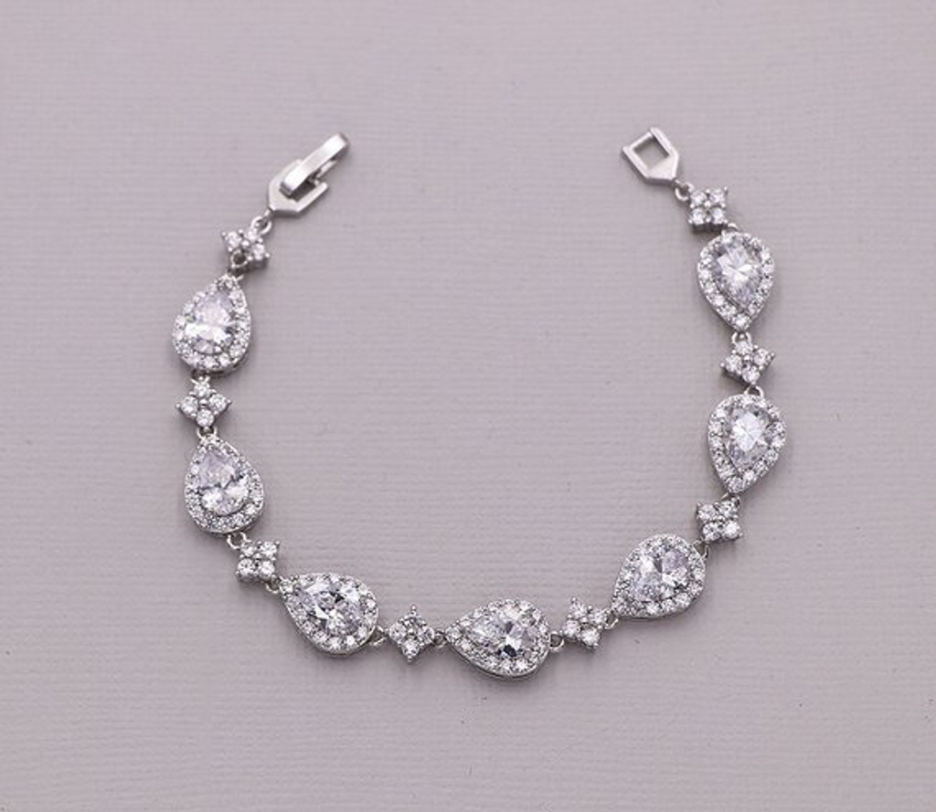 Avery Pear Cubic Zirconia Wedding Bracelet