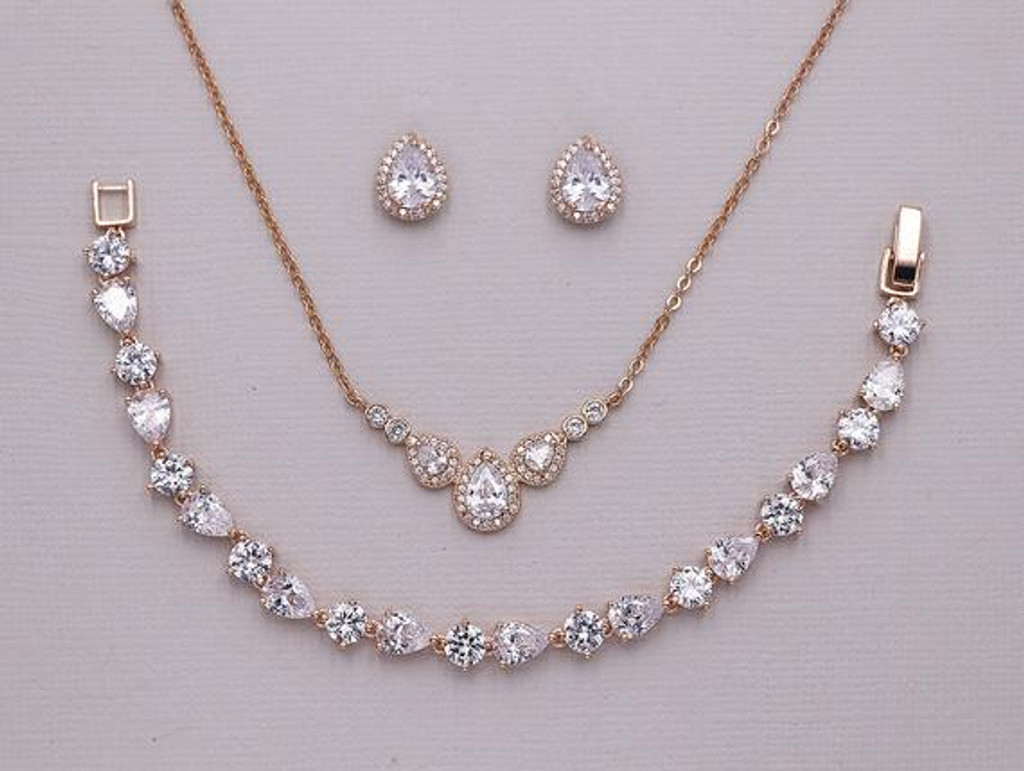Leslie Rose Gold Jewelry Set Allure Wedding Jewelry