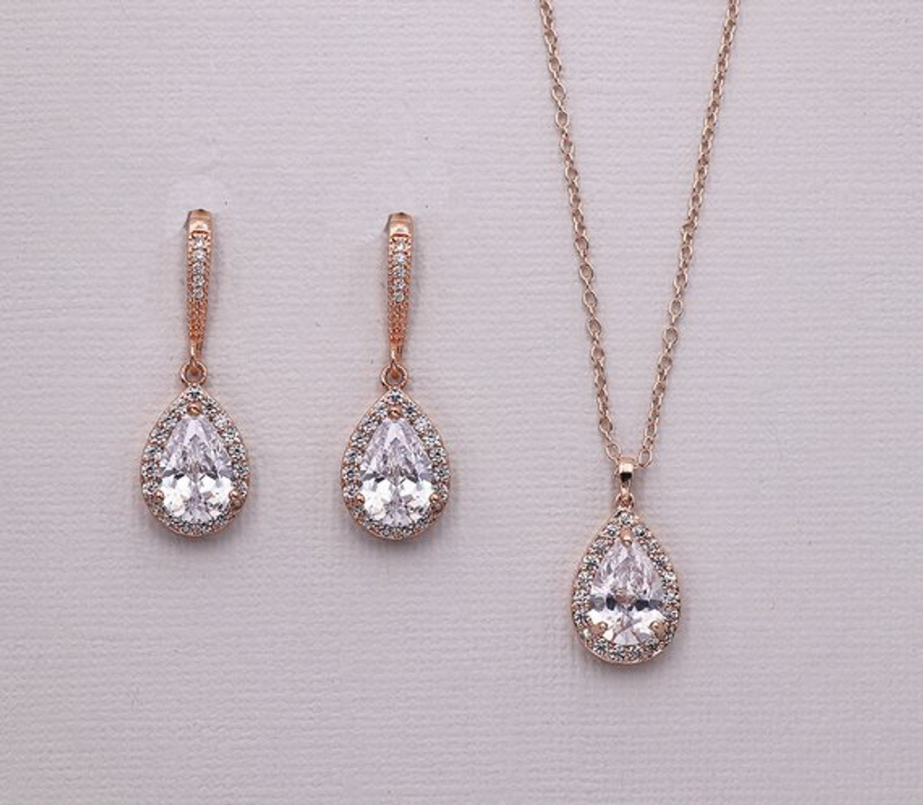 Addison Teardrop Earrings and Necklace Jewelry Set
