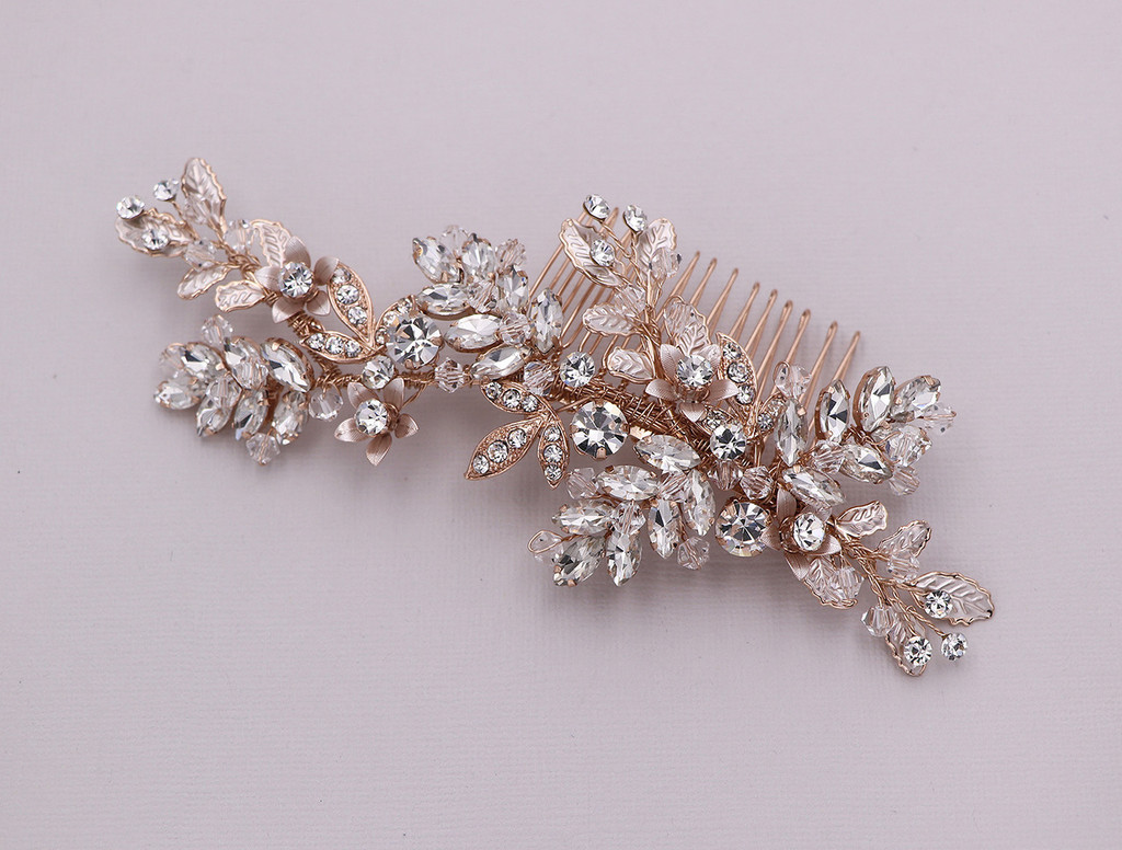 94cf8d30bc9 Bianca Swarovski Crystal Rose Gold Wedding Comb - Allure Wedding Jewelry