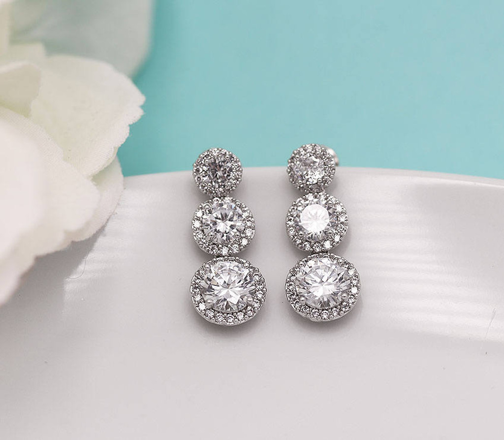 Ansley Triple Round CZ Wedding Earrings