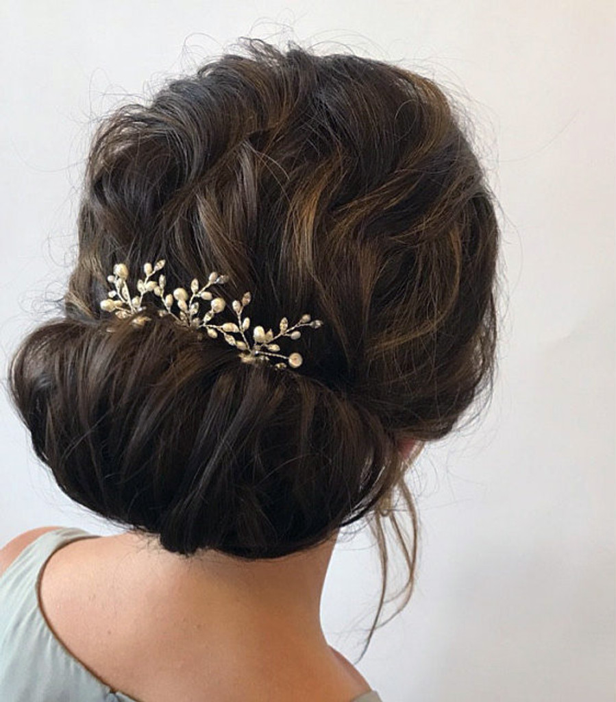 Aryana Swarovski Crystal Freshwater Pearl Wedding Hair Pin