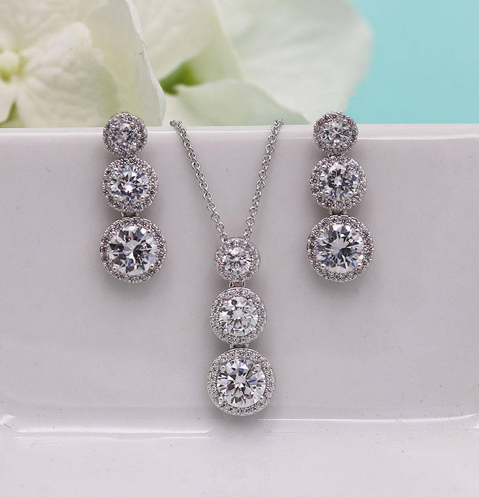 Ansley Triple Round CZ Wedding Jewelry Set