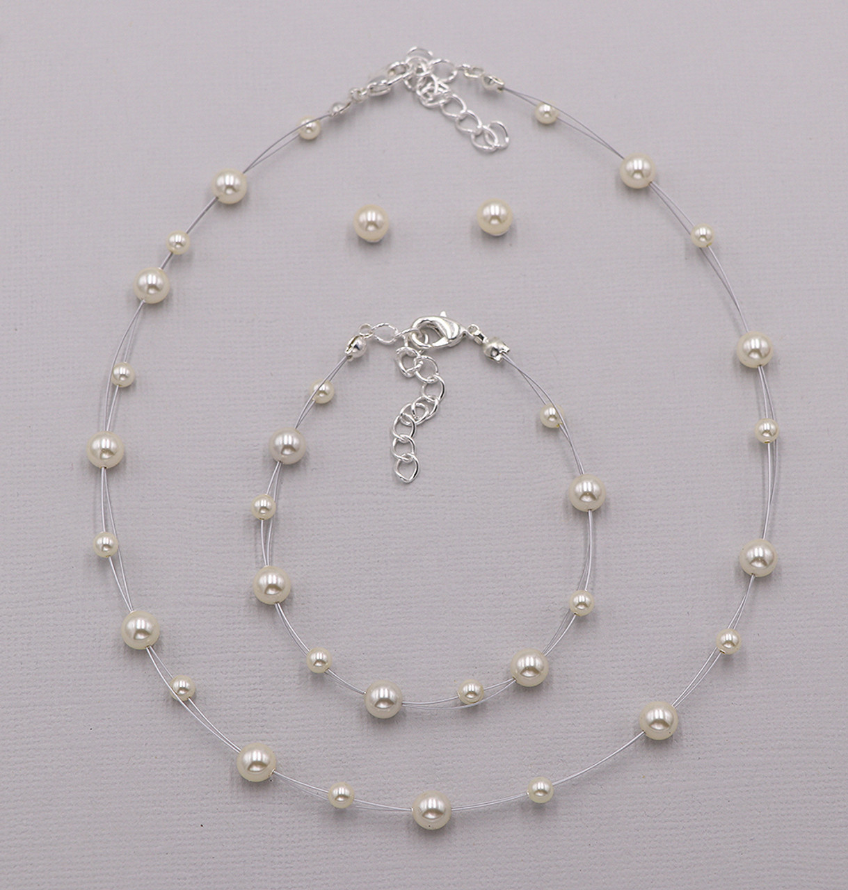 Silver tone white glass pearl necklace with earrings and bracelet communion
